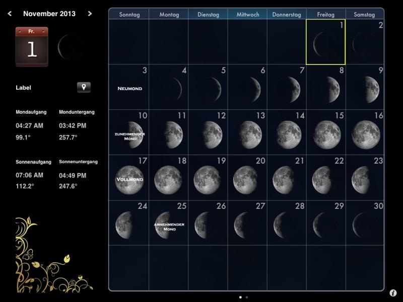Die besten iPad-Apps - MoonCalendar