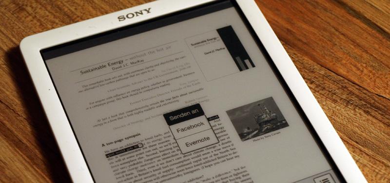 Sony Reader PRS-T3 - Netzanbindung zu Evernote und Facebook