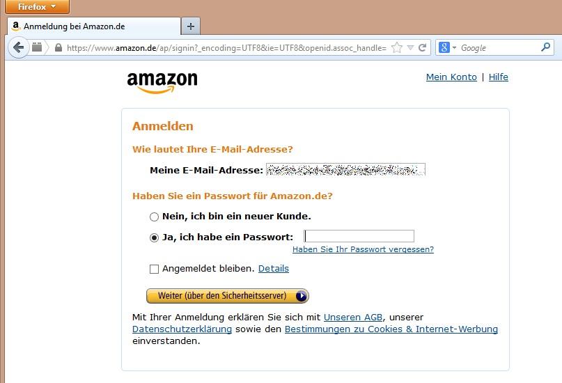Übersicht über Amazon-Einkäufe - Einloggen im Online-Shop