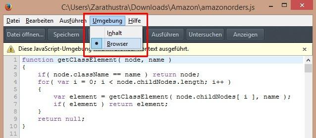 Jahresübersicht über Amazon-Käufe - Firefox-Umgebung anpassen