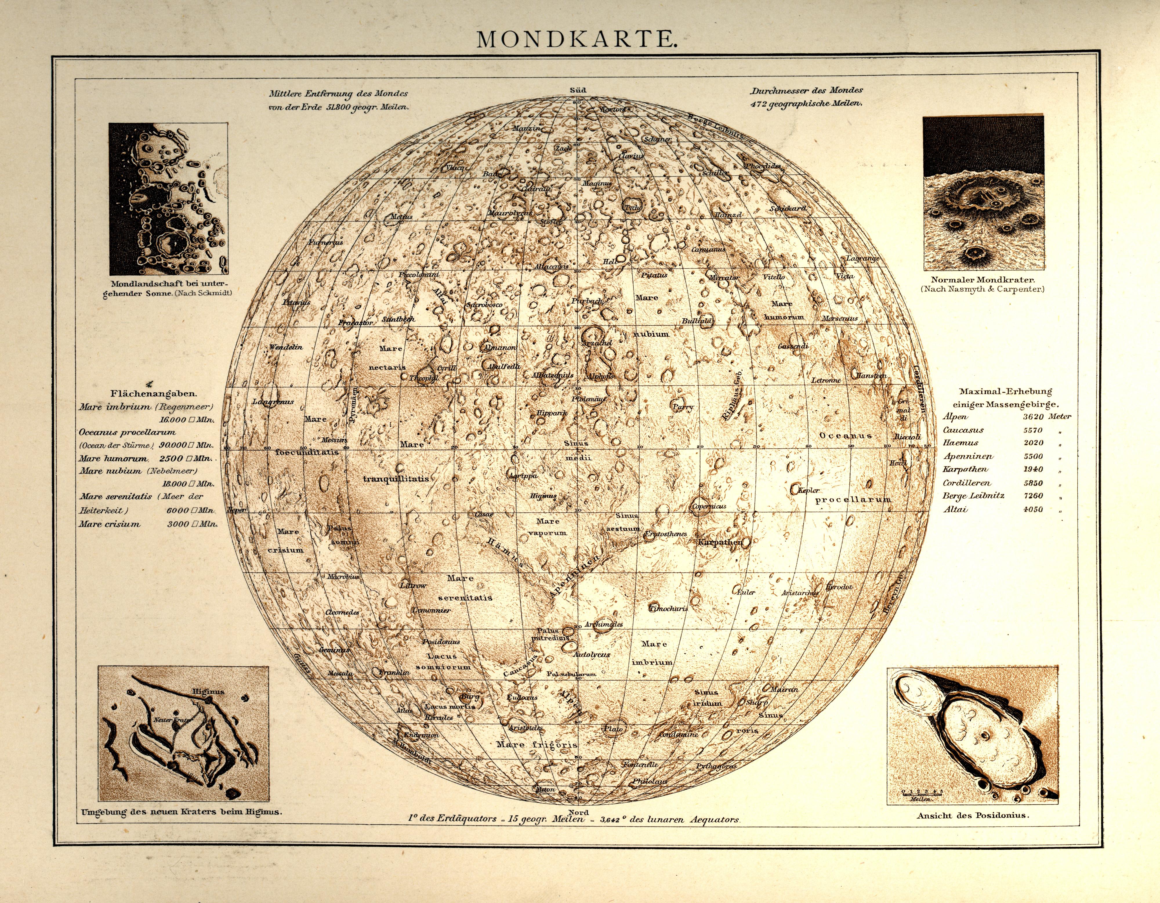 Andrees Allgemeiner Handatlas - Mondkarte (1881)