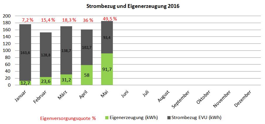Netzbezug und Stromerzeugung PV-Inselanlage 2016
