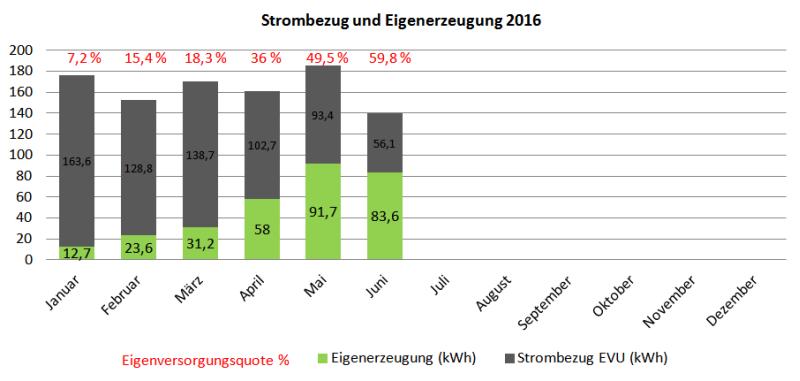 Photovoltaik-Stromerzeugung und Netzbezug Januar bis Juni 2016